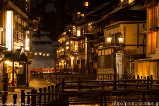 銀山温泉のライトアップ